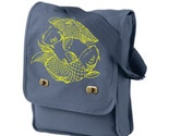 Japanese Koi Yellow Fish Illustration Print Navy Messenger / Field Bag