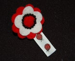 Bowtique RED and WHITE FELT FLOWER w/LADYBUGS Clippie No Slip