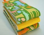 Set of 3 Gender Neutral Burp Cloths - Alexander Henry 2-D Zoo Fabric