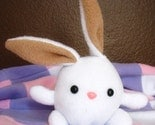White (and brown) stuffed plush bunny by megan stringfellow