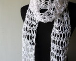 Cotton Scarf Snow White Summer Lightweight Crochet Free Shipping