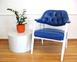 60s ELECTRIC BLUE Button Tufted OFFICE CHAIR