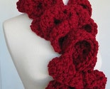 YART SALE Ruffle Scarf - Huge Cranberry Red Girly Girl Swirly Swirl Crimson Ruffled Wrap Scarf - Free Shipping