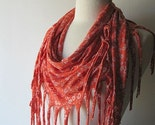 Scarf - Terra Cotta Orange Flowers Spring Summer Cotton Fabric Fringe Bandana Scarf - Free Shipping