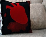 Bleeding Heart Pillow -- Black White Red Eco Spun Felt