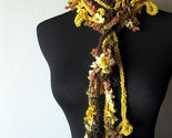 3 Piece Scarf Honeysuckle Rose Lariat Scarflette in Yellow Brown Hazelnut White Beige