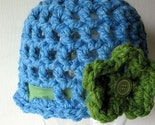Hat - Sky Blue Beanie Cloche Cap with Green Flower Brooch Pin - Free Shipping