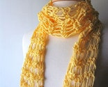 Cotton Scarf - Lemon Yellow Spring Summer Lightweight Crochet Scarf - Free Shipping