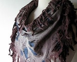 Scarf - Mocha Brown Blue Flower Fringe Bandana Fabric Scarf - Free Shipping