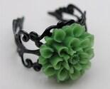 Lime Green Chrysanthemum Blossom Ring - Victorian Era