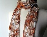 Cotton Scarf Caramel Brown Beige White Summer Lightweight Crochet Free Shipping