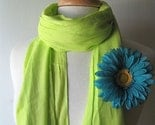 Fabric Summer Scarf in Lime Green with Teal Blue Flower Brooch Pin Free Shipping