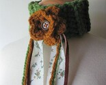 On the Prairie Lariat Scarflette Neckwarmer Cuff Lightweight Grass Green with Leather and Fabric Strips and Flower
