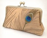 Gold silk peacock feathers - luxury clutch bag