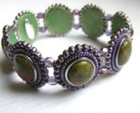 Secret  Garden - one of a kind unakite stretch bracelet