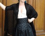 Merino wool lace knit shawl- Black