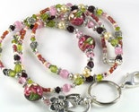 blushing rose beaded lanyard
