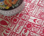 scandi - screenprinted fabric in london bus red on oatmeal