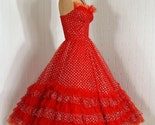 1950's Vintage Ruby-Red Tulle and Metallic-Silver Shimmer Lace-Couture Strapless Sweetheart Tiered-Ruffle Rockabilly Princess Circle-Skirt Wedding Party Prom Cocktail Dress