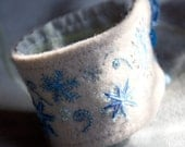 Hand Embroidered Winter Snowflake Wool Cuff Bracelet