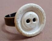 Le Petit White Antique Button Ring