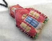 Sale. Schoolhouse.  Found Artifact Necklace.