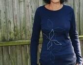 Womens Navy Blue silkscreen printed shirt (diamonds) long sleeve
