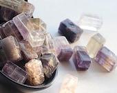 Brick-shaped Purple and Green Fluorite Beads,  Lot of 30 Beads