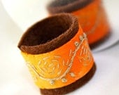 Hand Embroidered Stitched Embroidery Textile RIng Orange Swirl