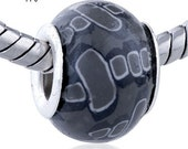 Lampwork Glass Bead - BK A2 - Grey with Grey Squares with White Halos - AWESOME
