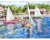 Summer Sailing Original Watercolor Painting 11 x 15
