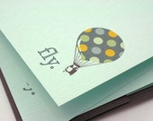 Polka Dot Hot Air Balloon Personalized Flat or Folded Note Card Set of 12