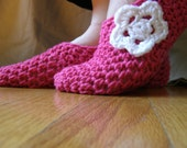 Crochet Slippers Hot Pink