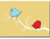 Blue Bird of Happiness and the Little Red Bird of Crankiness, 8 Greeting Cards