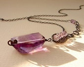 Here and Now necklace - amethyst, antiqued sterling silver