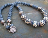 Bahama Mama lampwork, blue coral necklace