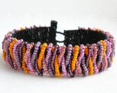City Beach - Pink, Purple and Orange Peyote Stitched Beaded Cuff Bracelet  FREE SHIPPING