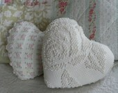 two vintage chenille heart pillows