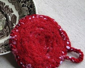 Dish scrubby - makes great hostess gift, crocheted from eco friendly repurposed nylon, speckled red