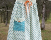 The Gathering Apron - turquoise and orange stripes