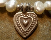 Freshwater Pearl and Silver Heart Charm Bracelet