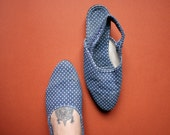 Vintage polka  dot blue slingback canvas Sandals