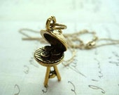 BBQ - Gold Plated Charm with a dainty 16 inch Gold Plated Cable Chain Necklace