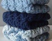 Hand Crocheted Every Day Luxury Washcloths In SHADES OF BLUE