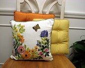 Butterflies Are Free Vintage 1960's 1970's  Embroidered Linen Garden Scene Pillow