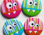 Candy stripe Monsters 1 inch button (set of 4)