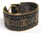 Royal bracelet - black beadwoven cuff with bronze and copper pattern - FREE SHIPPING