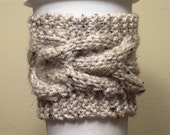 Cable Knit Coffee Cozie Cozy Oatmeal Beige Black Brown by Kim White Creations on Etsy
