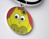 Cute Green Owl Round Pendant Necklace