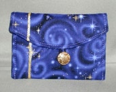 Business Card Holder - Mini Wallet - STARRY NIGHT - Purple - Gold Stars